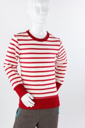 Kinder-Langarmshirt aus Strickjersey weiß/rot