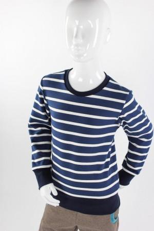 Kinder-Langarmshirt aus Strickjersey blau/weiß