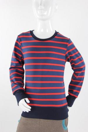 Kinder-Langarmshirt aus Strickjersey blau/rot