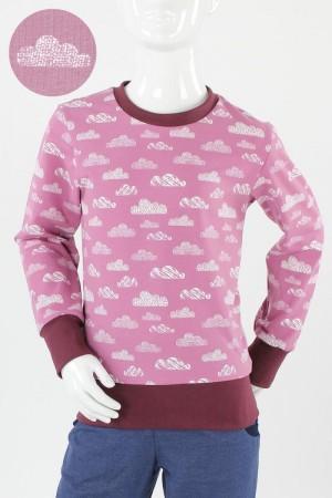 Kinder-Longsleeve rosa mit Wolken Bio-Stoffe
