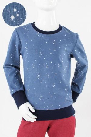Kinder-Longsleeve blau mit Sternen GOTS 86/92