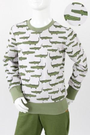 Kinder-Longsleeve weiß mit Krokodilen BIO-STOFFE 98/104