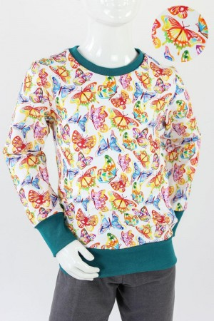 Kinder-Longsleeve mit Regenbogenschmetterlingen 98/104