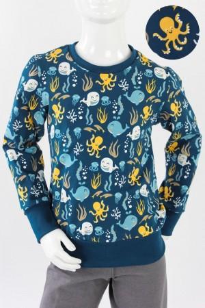 Kinder-Longsleeve dunkelblau mit Meerestieren BIO-STOFFE 134/140