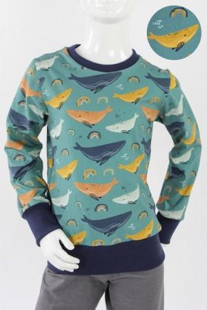 Kinder-Longsleeve meeresgrün mit Walen 74/80