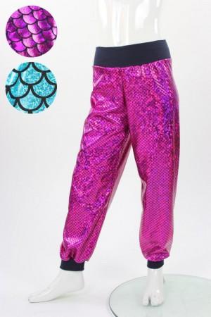 glitzernde Kinderhose mit Fischschuppenmuster in blau oder pink