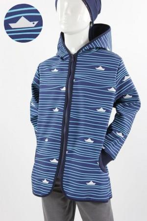 Kinder-Softshelljacke blau mit Streifen und Booten