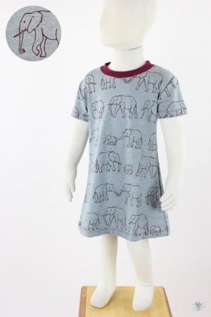 Kinder-Jerseykleid grau meliert mit Elefantenfamilie