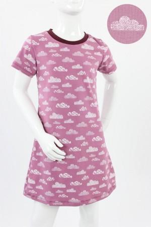 Kinder-Jerseykleid rosa mit Wolken Bio-Stoffe