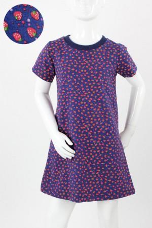 Kinder-Jerseykleid blau mit Erdbeeren