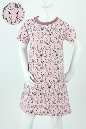 Kinder-Jerseykleid rosa mit Pferden