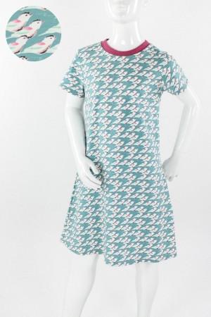 Kinder-Jerseykleid mintgrün mit Meisen
