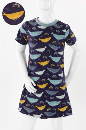 Kinder-Shirtkleid dunkelblau mit Walen