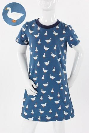 Kinder-Shirtkleid blau mit Gänsen