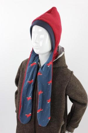 Fleece-Schalmütze zum Wenden rot meliert mit Pferden auf blau KU 45-50