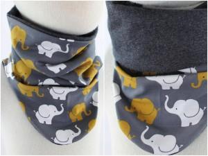 Schlupfschal zum Wenden Elefanten grau