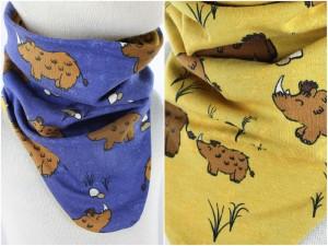 Schlupfschal zum Wenden Wollnashörner blau und gelb