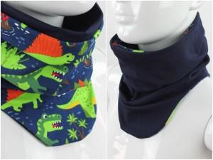 Schlupfschal zum Wenden blau mit Dinos