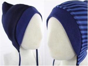 Sweatmütze zum Wenden marineblau / blau gestreift