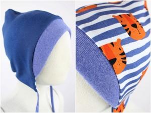 Sweatmütze zum Wenden taubenblau / Tiger gestreift