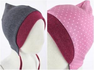 Sweatmütze zum Wenden grau meliert / rosa gepunktet