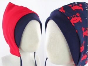 Sweatmütze zum Wenden rot / Krebse blau