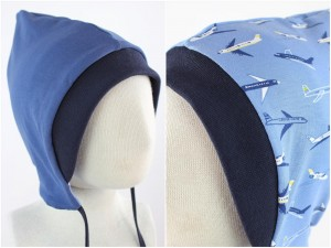 Sweatmütze zum Wenden taubenblau / Flugzeuge blau