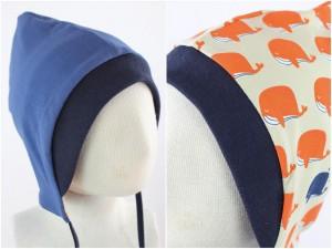 Sweatmütze zum Wenden taubenblau / Wale orange