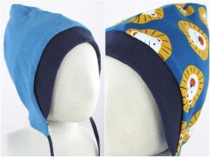 Sweatmütze zum Wenden blau meliert / Löwen blau