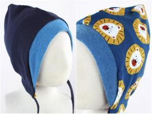 Sweatmütze zum Wenden marineblau / Löwen blau