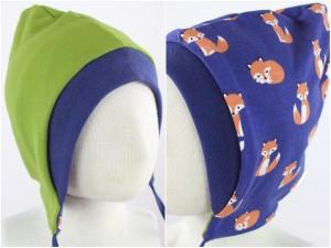 Sweatmütze zum Wenden grün / Füchse blau