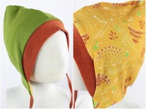 Sweatmütze zum Wenden grün / Dinos gelb