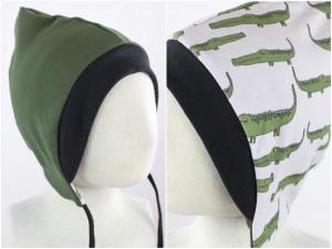 Sweatmütze zum Wenden olivgrün / Krokodile weiß