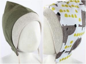 Sweatmütze zum Wenden olivgrün meliert / Hunde weiß