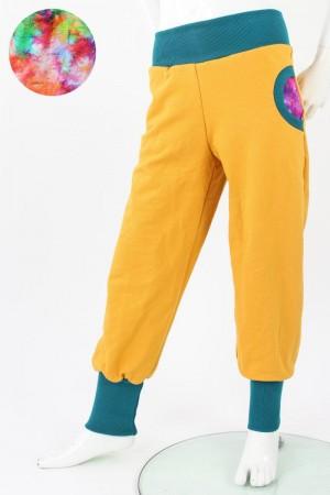 Tobehose für Kinder gelb mit Batikmuster