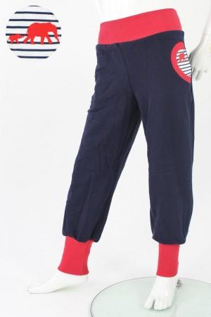 Tobehose für Kinder marineblau mit Elefanten auf Streifen 110/116