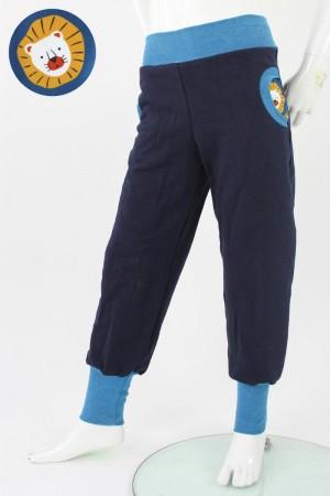 Tobehose für Kinder marineblau mit Löwen 110/116