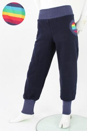 Tobehose für Kinder marineblau mit Regenbogenstreifen 74/80