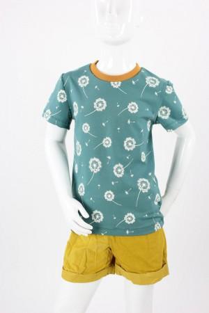 Kinder-T-Shirt petrol mit Pusteblumen