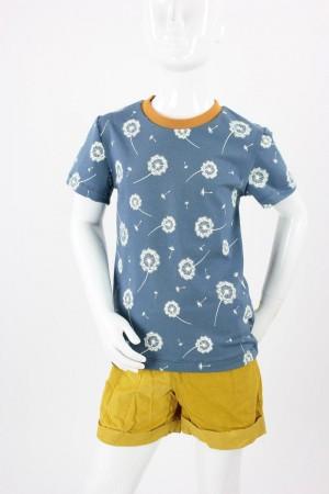 Kinder-T-Shirt blau mit Pusteblumen