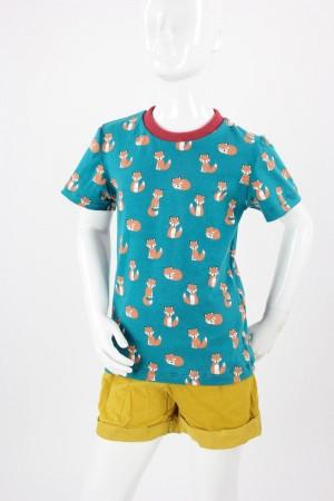 Kinder-T-Shirt petrol mit Füchsen