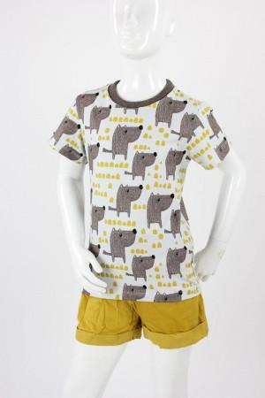 Kinder-T-Shirt naturweiß mit Hunden