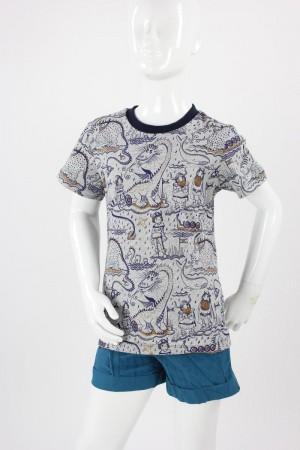 Kinder-T-Shirt grau mit Wikingern und Drachen