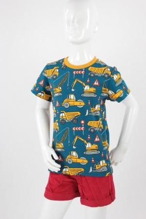 Kinder-T-Shirt petrol mit Baufahrzeugen 98/104