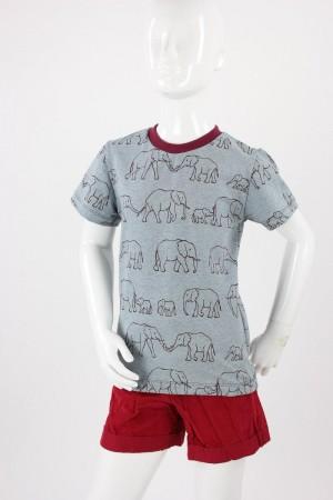 Kinder-T-Shirt grau mit Elefantenfamilie