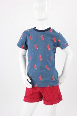 Kinder-T-Shirt blau mit roten Pferden