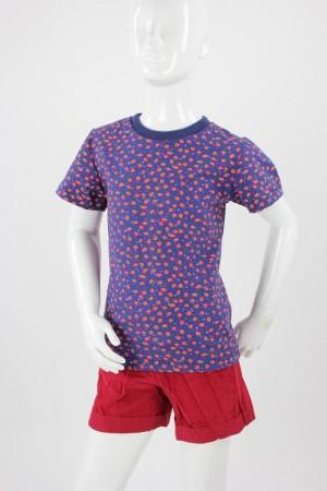 Kinder-T-Shirt blau mit Erdbeeren
