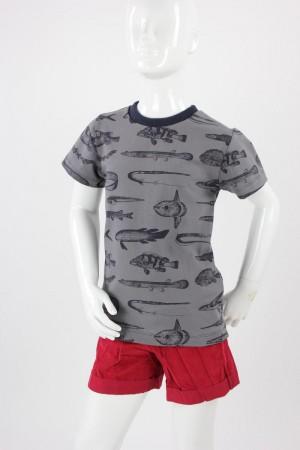 Kinder-T-Shirt grau mit Fischen