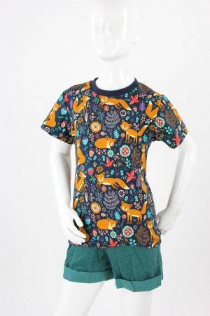 Kinder-T-Shirt blau mit Mohnfüchsen