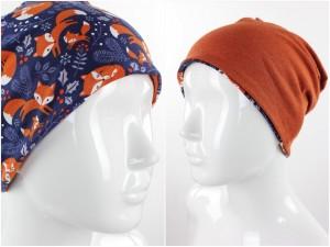Beanie zum Wenden blau mit Füchsen und orange meliert